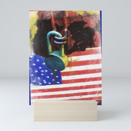 Civil Rights And Wrongs Home Land Security Flag And Lock 2 Mini Art Print