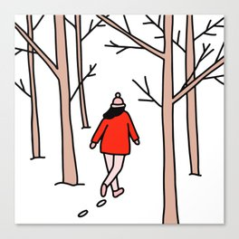 Girl Walking Through the Woods Canvas Print