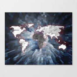 World map 3d color cubes Canvas Print