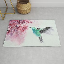 Hummingbird Watercolor Painting by Nisha Sehjpal Rug