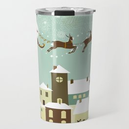 Santa flying in his sleigh over a village Travel Mug