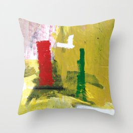 No. 02 Yellow Red and Green Bold Abstract Painting  Throw Pillow