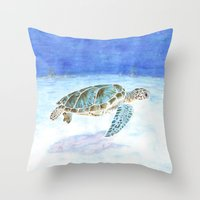 sea turtle Throw Pillows featuring Sea turtle by Savousepate