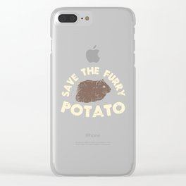 Save The Furry Potato - Funny Domestic Guinea Pig Illustration Clear iPhone Case