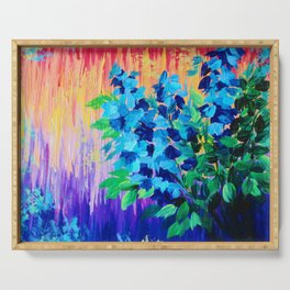SHADES OF BEAUTIFUL - Stunning Bright BOLD Rainbow Ombre Pattern Blue Floral Hyacinth Nature Autumn Serving Tray