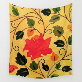 Bright red rose Wall Tapestry