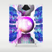 hamburger Shower Curtains featuring HAMBURGER by Riot Clothing