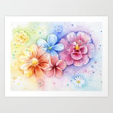 Flowers Watercolor Floral Colorful Rainbow Painting Art Print