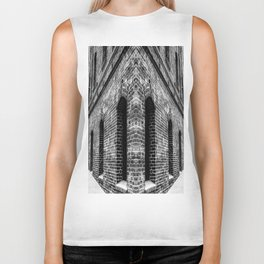 old brick building with windows in black and white Biker Tank