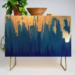 Gold Leaf & Blue Abstract Credenza