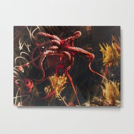 Blooming Crimson Octopus Metal Print