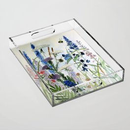 Wildflower in Garden Watercolor Flower Illustration Painting Acrylic Tray