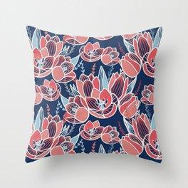 Papercut tulips Throw Pillow