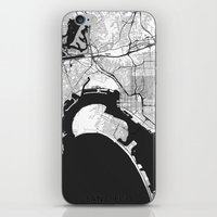 san diego iPhone & iPod Skins featuring San Diego Map Gray by City Art Posters