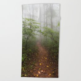 Adventure Ahead - Foggy Forest Digital Nature Photography Beach Towel