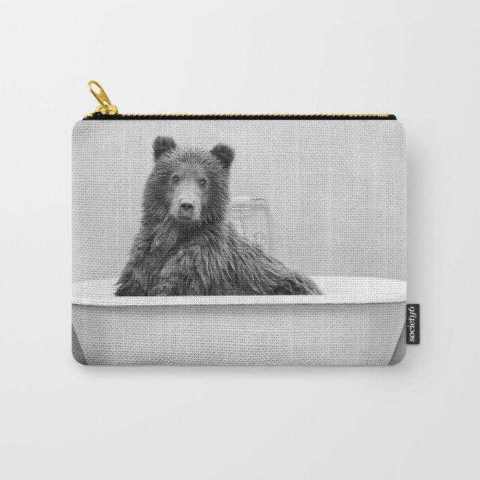 Bear in a Vintage Bathtub (bw) Carry-All Pouch