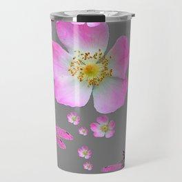 ROSE DRAGONFLIES & WILD PINK ROSES Travel Mug
