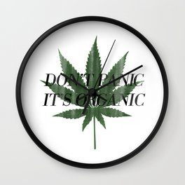 Don't Panic It's Organic Vintage Cannabis Print Wall Clock