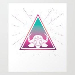 Colorful African Buffalo Geometrical Triangle Retro Style design Art Print