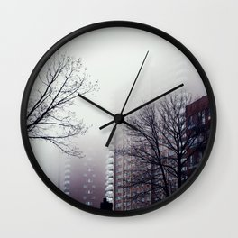 Foggy Day in Queens, New York City Wall Clock
