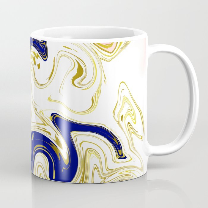 blue ,gold,rose,black,golden fractal, vibrations, circles modern pattern, Coffee Mug