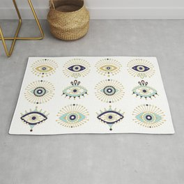 Evil Eye Collection on White Rug
