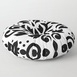 Scroll Damask Large Pattern Black on White Floor Pillow