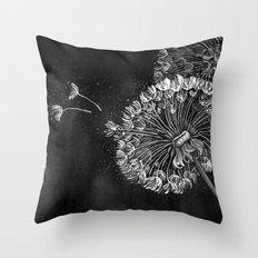 Dandelions, black & white Throw Pillow