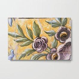 Antique floral ceramic tiles 2 Metal Print