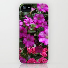 Pink Flowers on Green iPhone Case