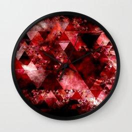 Dark hell- geometrical triangle - modern red backdrop on #Society6 Wall Clock