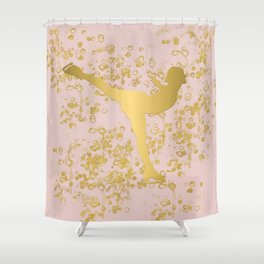 Figure Skater in Golden Flakes and Pink-Graphic Design Shower Curtain