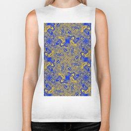 yellow & cobalt abstract art Biker Tank