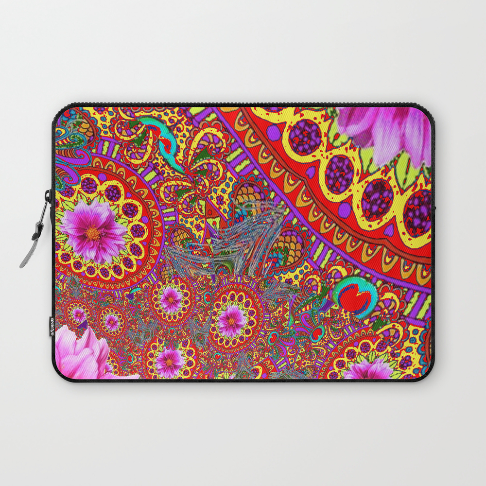 Bohemian Fuchsia Florals In Red-yellow Color Art Laptop Sleeve LSV7937413