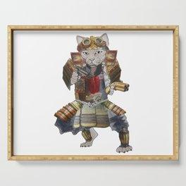 Steampunk samurai cat with 2 pistols Serving Tray