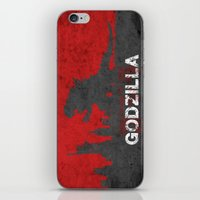 godzilla iPhone & iPod Skins featuring Godzilla by WatercolorGirlArt