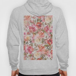Blush pink coral white watercolor hand painted roses flowers Hoody