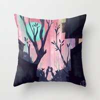 lovers Throw Pillows featuring Lovers by youcoucou