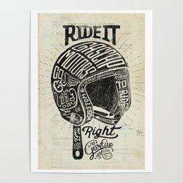 Gascap Motors, Ride it Right Helmet! vintage motorcycles Poster