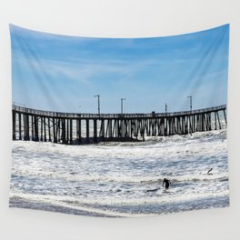 A Panoramic View Of Pismo Beach Pier, Surfers And Ocean Wall Tapestry