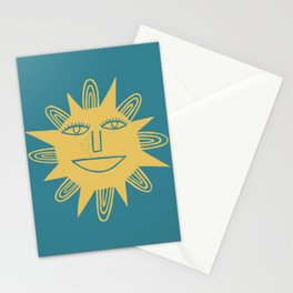Cheerful Happy Sunshine Numero 3 Teal Stationery Cards