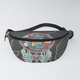 Wolf Native American Animal Spirit Dream Catcher Fanny Pack