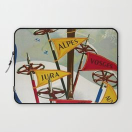 Vintage Winter Sports in France Skiing - Mountain Climbing Travel Advertising Poster Laptop Sleeve