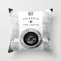 polaroid Throw Pillows featuring Polaroid by AndreaClare