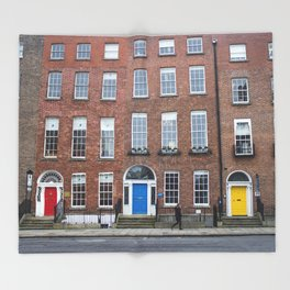 Colorful Doors in Dublin, Ireland Throw Blanket