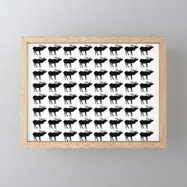 Graphic Black and White Elk Multiples Framed Mini Art Print