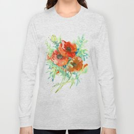 Red Poppies, Red flowers, French Country Long Sleeve T-shirt