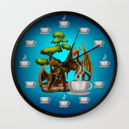 Hot Coffee with Bonsai and Fire Dragons Wall Clock