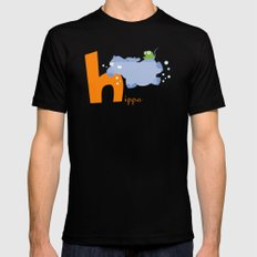 h for hippo Black Mens Fitted Tee MEDIUM