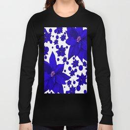 Poinsettia Blue Indigo Pattern Long Sleeve T-shirt